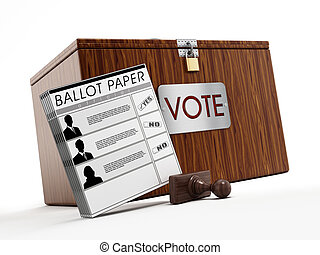 Ballot box, stamp and ballot paper on white background.