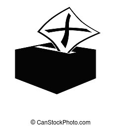 Voting slip marked with x being inserted into ballot box slot, isolated on white background.