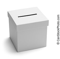 Ballot Box White - White Card Board Voting Box Isolated on...