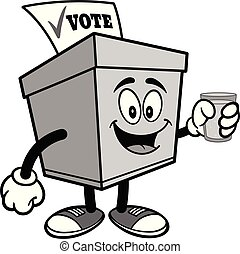 Ballot Box with a glass of Water Illustration