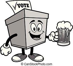 Ballot Box with a mug of Beer Illustration