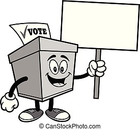 Ballot Box with a Sign Illustration