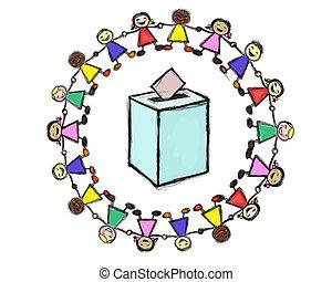 ballot box with a Smiling Multiracial Children Circle
