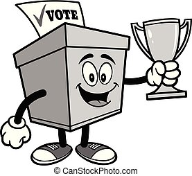 Ballot Box with a Trophy Illustration