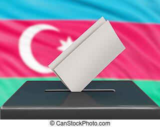 Ballot box with Azerbaijan flag on background