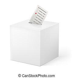 Ballot box with Ballot paper. Illustration on white...