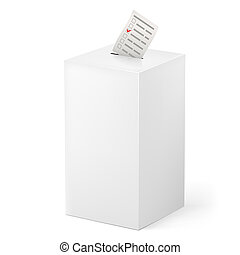 Ballot box with Ballot paper. Illustration on white