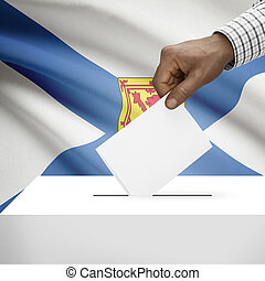 Ballot box with Canadian province flag on background series - Nova Scotia