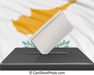 Ballot box with Cyprus flag on background