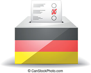 ballot box with flag - detailed illustration of a ballot box...