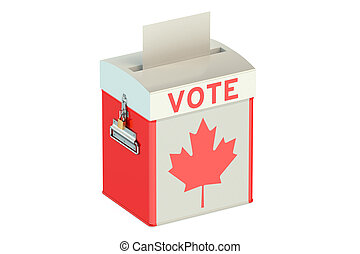 ballot box with flag of Canada isolated on white background