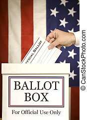 Ballot Box With Hand Voting Vertica