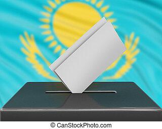 Ballot box with Kazakh flag on background