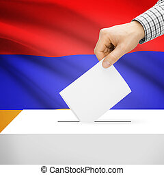 Ballot box with national flag on background - Armenia