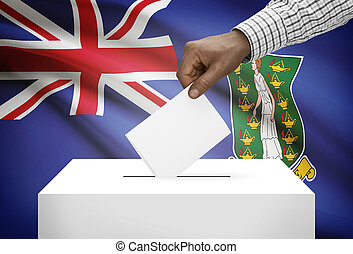Ballot box with national flag on background - British Virgin Islands