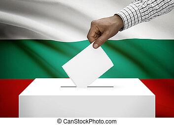 Ballot box with national flag on background - Bulgaria