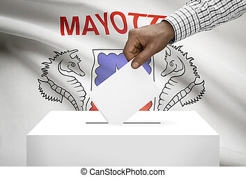 Ballot box with national flag on background - Department of Mayotte