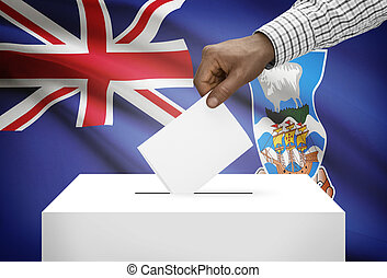 Ballot box with national flag on background - Falkland Islands