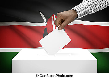 Ballot box with national flag on background - Kenya