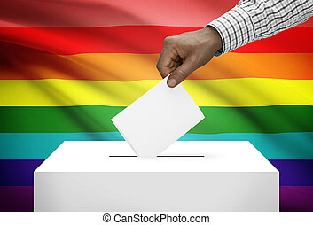 Ballot box with national flag on background - LGBT flag