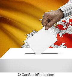 Ballot box with national flag on background series - Bhutan