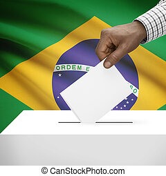 Ballot box with national flag on background series - Brazil...
