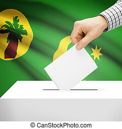 Ballot box with national flag on background - Territory of the Cocos (Keeling) Islands