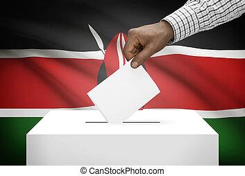 Ballot box with national flag on background - Kenya