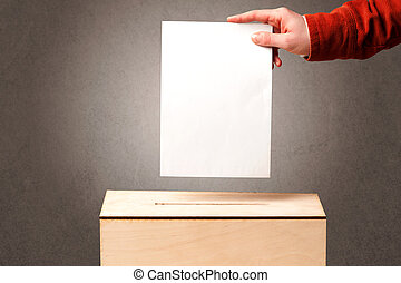 Ballot box with person casting vote