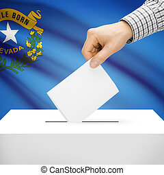 Ballot box with US state flag on background series - Nevada
