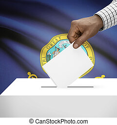 Ballot box with US state flag on background series - Idaho -...