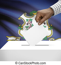 Ballot box with US state flag on background series - Connecticut