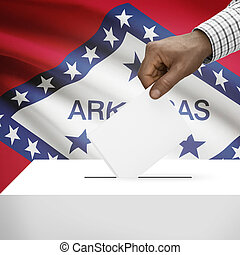 Ballot box with US state flag on background series - Arkansas