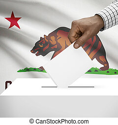 Ballot box with US state flag on background series - California
