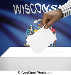 Ballot box with US state flag on background series - Wisconsin