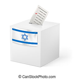 Ballot box with voicing paper. Israel. - Election in Israel:...