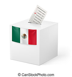 Ballot box with voicing paper. Mexico - Election in Mexico:...