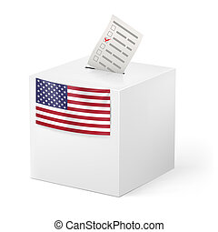 Ballot box with voicing paper. USA. - Election in United...