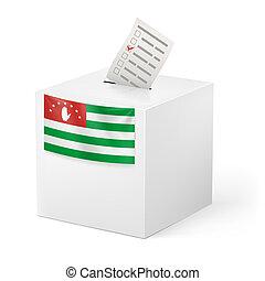 Ballot box with voting paper. Abkhazia