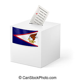 Ballot box with voting paper. American Samoa - Election in...