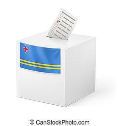Ballot box with voting paper. Aruba - Election in Aruban:...