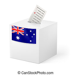 Election in Australia: ballot box with voting paper on white background