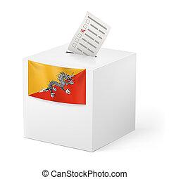 Ballot box with voting paper. Bhutan