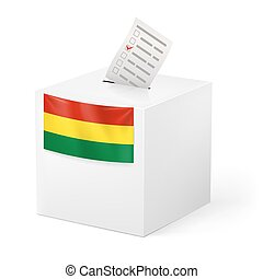 Ballot box with voting paper. Bolivia - Election in Bolivia:...