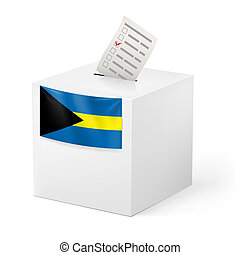 Ballot box with voting paper. Commonwealth of the Bahamas -...
