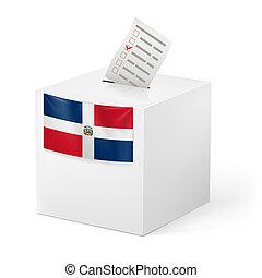 Ballot box with voting paper. Dominican Republic