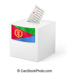 Ballot box with voting paper. Eritrea - Election in Eritrea:...