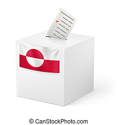 Ballot box with voting paper. Greenland - Election in...