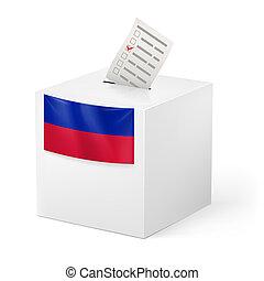 Ballot box with voting paper. Haiti - Election in Haiti:...