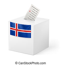 Ballot box with voting paper. Iceland - Election in Iceland:...